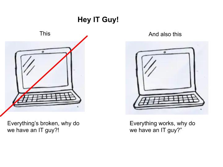 """Hey IT Guy! image of broken computer with """"everything is broken why do we pay an IT guy"""" and working computer with """"everything is working why do we pay an IT guy"""""""