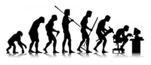 evolution of man to upright to hunched over at computer