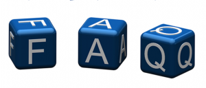 3 dice with F A Q spelled out