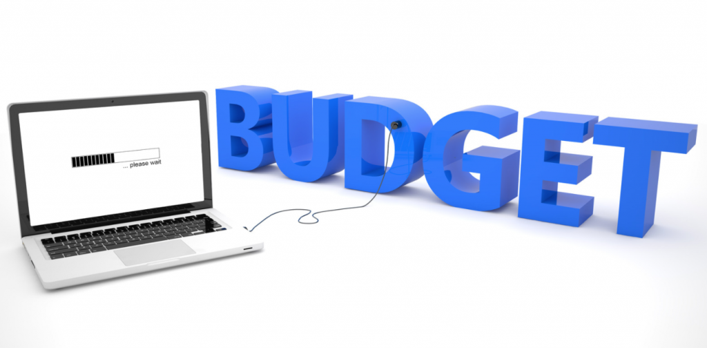 image says budget next to computer