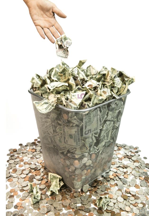 an image of throwing money away